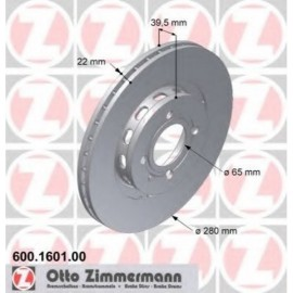Kit disques frein avant gauche/droit (89-02, 280x22, 4/100)