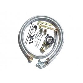 Kit plaque adaptateur filtre à huile & tuyaux radiateur d'huile (caoutchouc tressé inox)